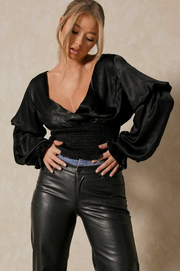 Black Hammered Satin Balloon Sleeve Ruched Top
