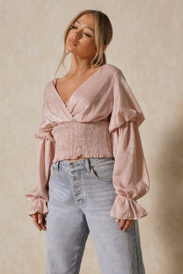 Pink Hammered Satin Balloon Sleeve Ruched Top