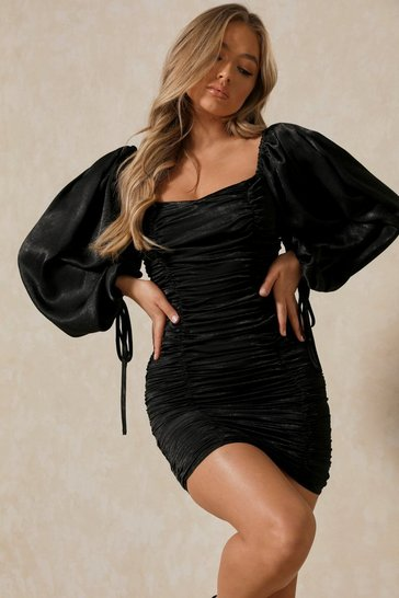 Black Hammered Satin Ballon Sleeve Ruched Mini Dress