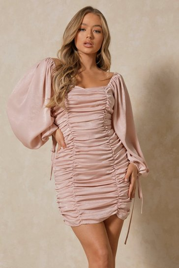 Pink Hammered Satin Ballon Sleeve Ruched Mini Dress