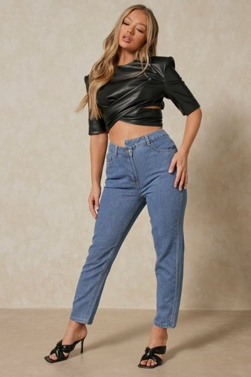Mid blue Stepped Waistband Mom Jean