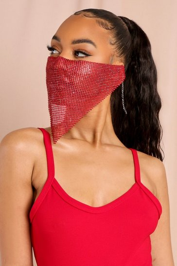 Red  Diamante Chainl Fashion Face Mask