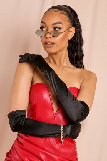 Black Halloween Satin Long Gloves