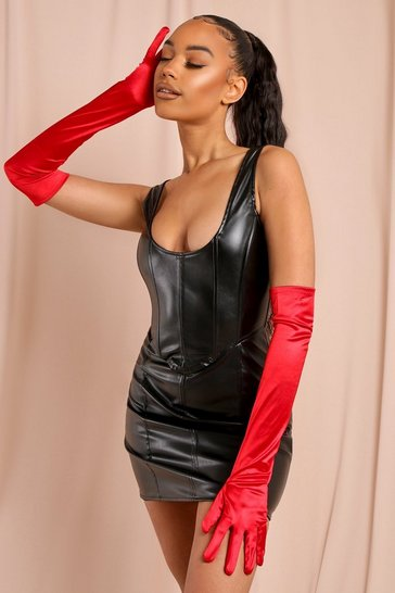Red Halloween Satin Long Gloves