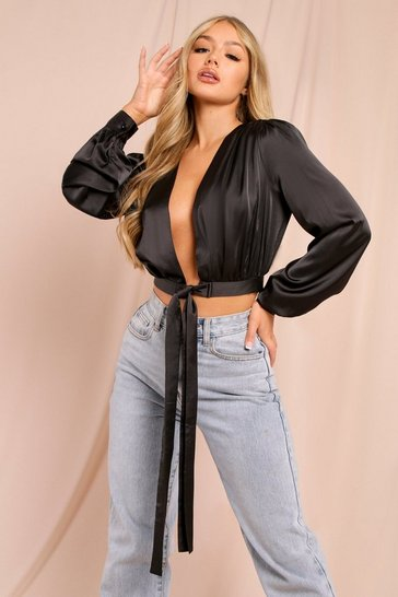 Black Oversized Balloon Sleeve Tie Front Blouse