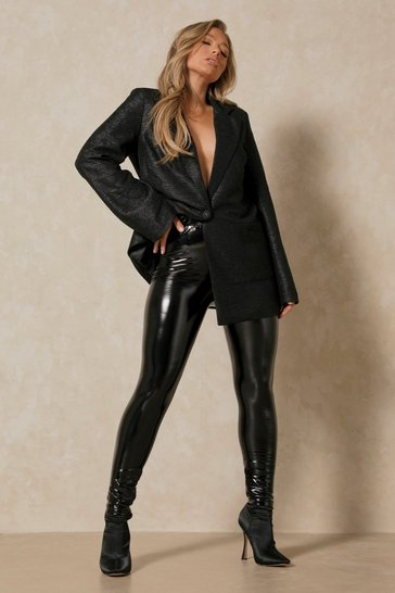 Black Vinyl Leather Look Leggings