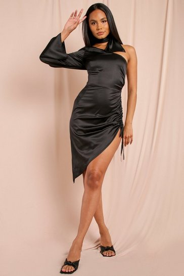 Black Satin One Shoulder Ruched Side Mini Dress
