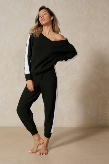 Black Side Stripe Knitted Lounge Set