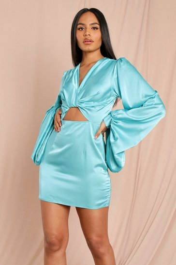 Mint Satin Oversized Ballon Sleeve Twist Detail Dress