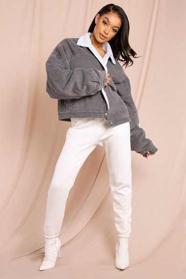 Grey Cord Bomber Jacket with Teddy Trim