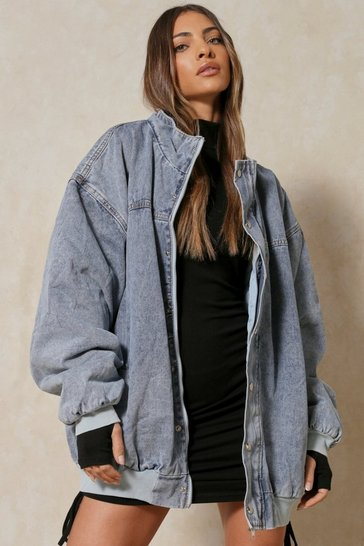 Blue Extreme Oversized Denim Bomber