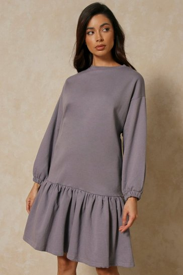 Dark grey Ruffle Smock Sweatshirt Dress