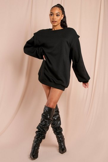 Black Shoulder Pad Detail Sweatshirt Dress