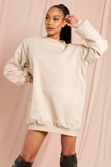 Camel Shoulder Pad Detail Sweatshirt Dress