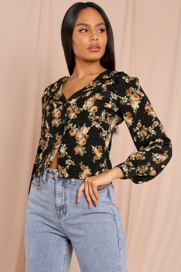 Black Floral Puff Long Sleeve Shirt