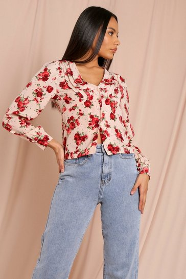 Nude Floral Puff Long Sleeve Shirt