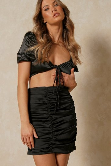 Black Satin Extreme Ruched Mini Skirt
