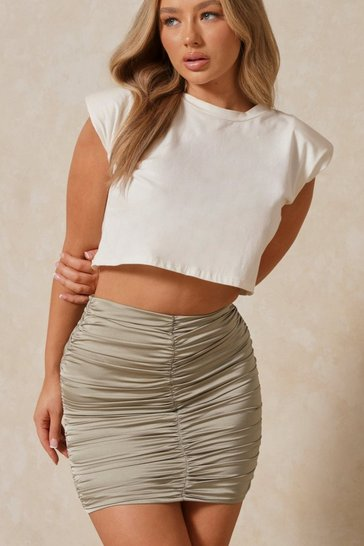 Sage Satin Extreme Ruched Mini Skirt