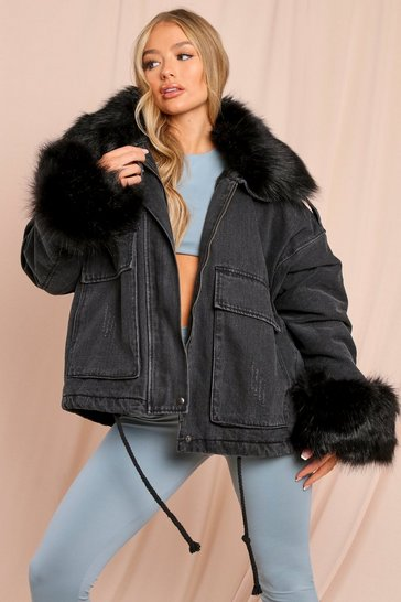 Black Faux Fur Trim Cuff And Collar Denim Jacket