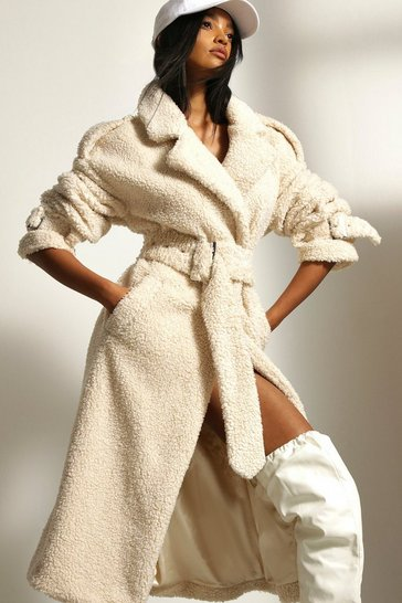 Cream Longline Oversized Teddy Borg Belted Coat
