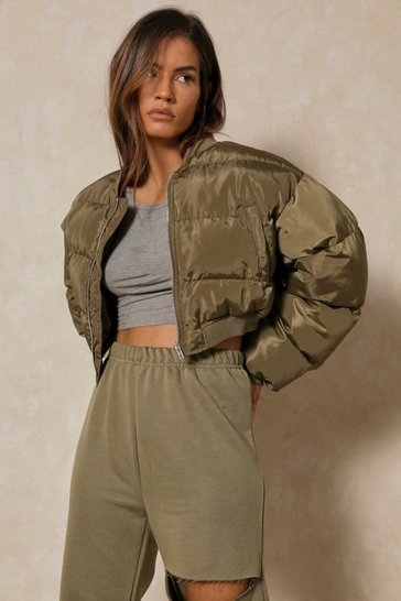 Khaki Oversized Cropped Padded  Jacket