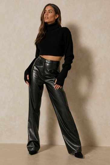 Black Tia Leather Look Straight Leg Trouser
