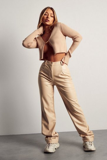 Cream Tia Leather Look Straight Leg Trouser