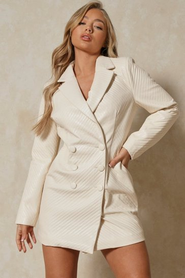 Cream Tia Leather Look Quilted Blazer Dress