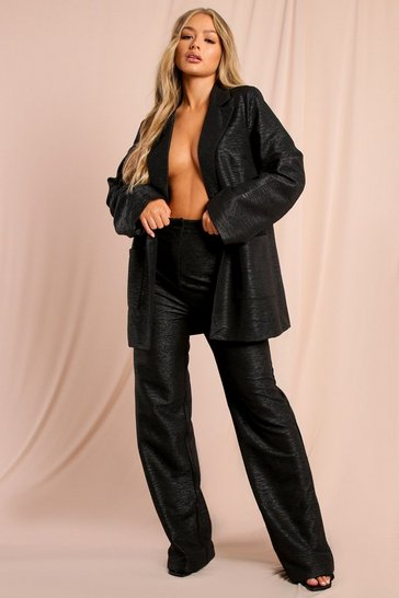 Black Tia Textured Oversized Suit Trouser