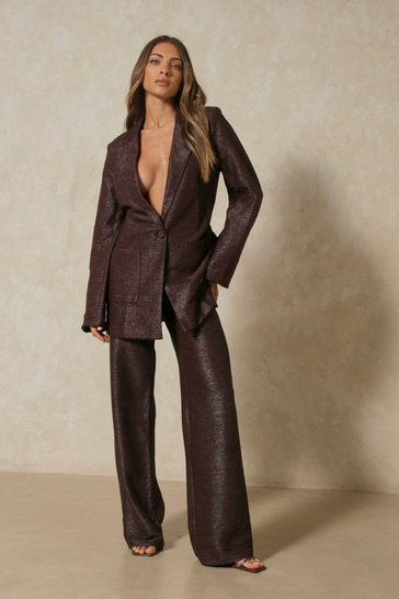 Chocolate Tia Textured Oversized Suit Pants