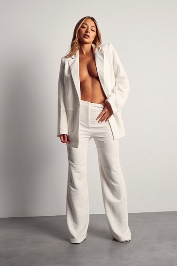 White Tia Textured Oversized Suit Trouser