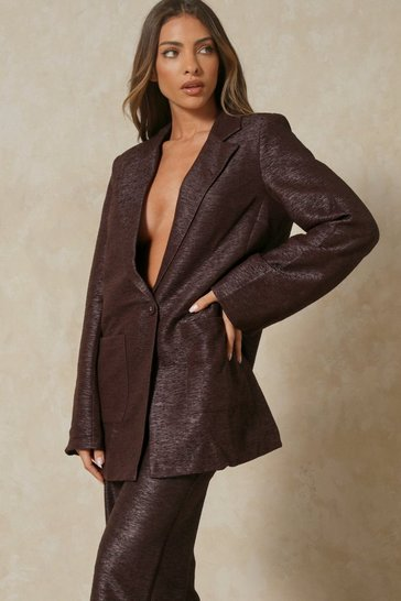 Chocolate Tia Textured Oversized Blazer