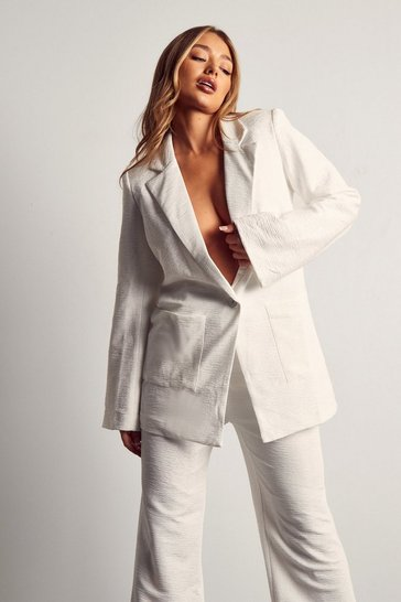 White Tia Textured Oversized Blazer