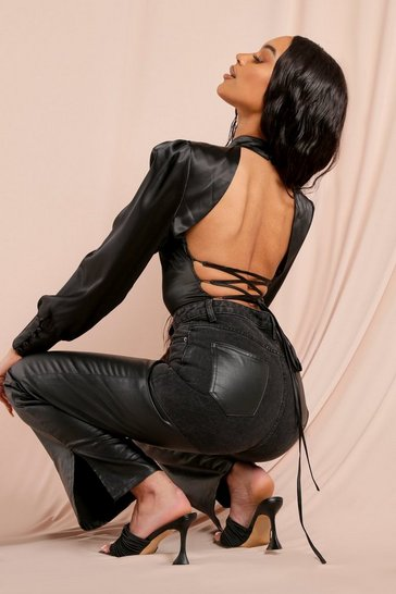 Black Satin High Neck Lace UP Back Detail Bodysuit