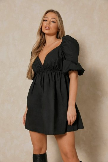 Black Extreme Puff Sleeve Plunge Smock Dress