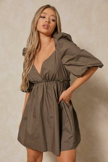 Khaki Extreme Puff Sleeve Plunge Smock Dress
