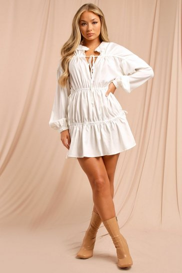 White Ruched Tie Front Balloon Sleeve Smock Dress