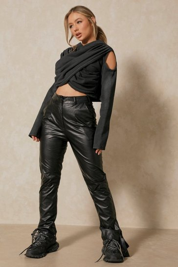 Black Leather Look Tie Detail Trouser