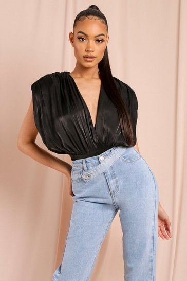 Black Satin Extreme Shoulder Pad Bodysuit