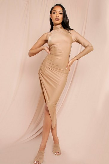 Nude Slinky High Neck Ruched Side Midi Dress