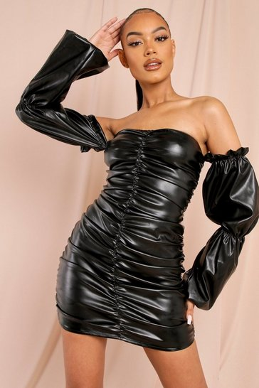 Black Leather Look Puff Sleeve Ruched Mini Dress
