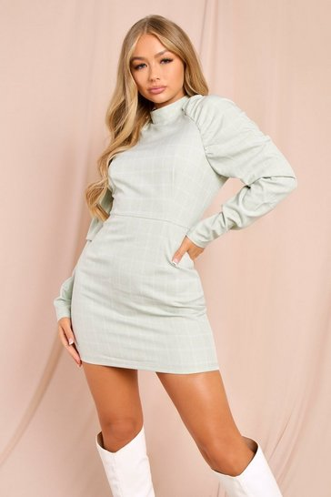 Sage Checked High Neck Puff Sleeve Mini Dress