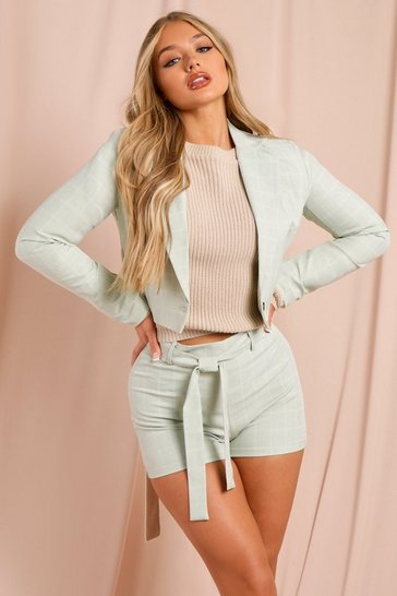 Sage Checked Cropped Blazer