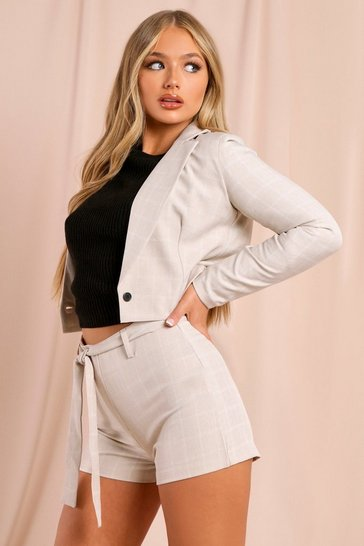 Stone Checked Cropped Blazer