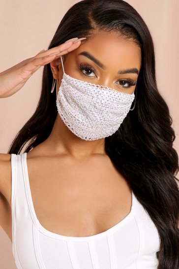 White Fishnet Diamante Fashion Face Mask