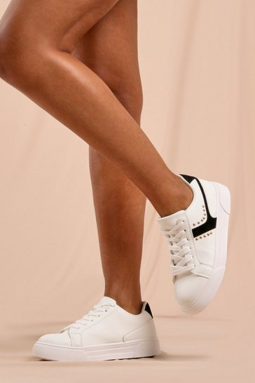 Black Studded Detail Basic Trainers