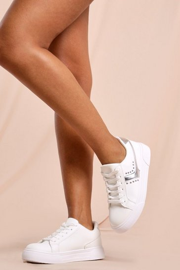 Silver Studded Detail Basic Trainers