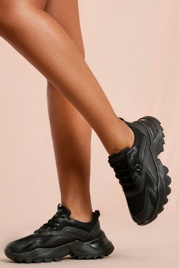 Black Chunky Platform Leather Look Trainer