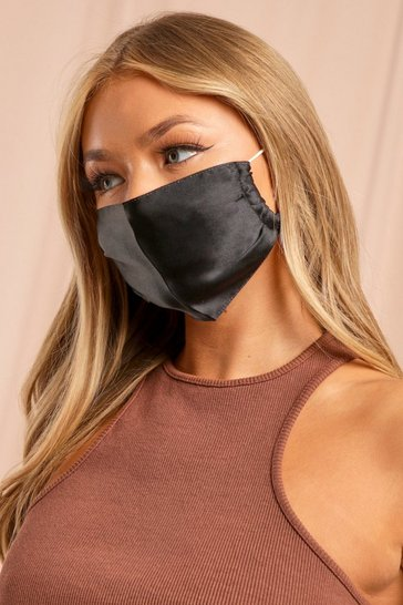 Black Satin Adjustable Strap Fashion Face Mask