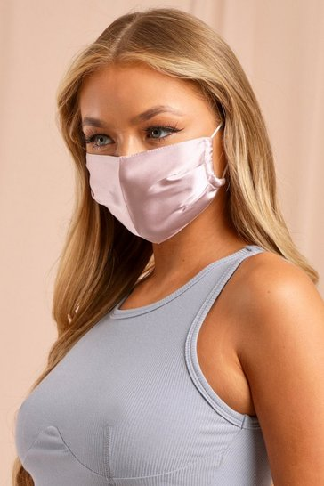 Pink Satin Adjustable Strap Fashion Face Mask